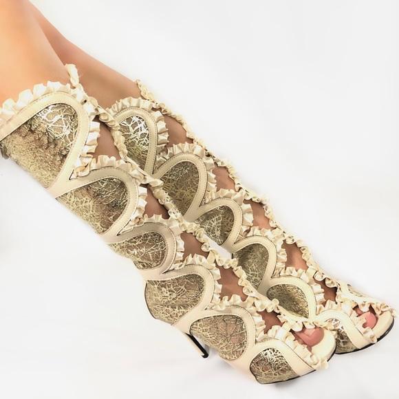 fe791a821f04 Athena Shoes - Athena Ruffled Mesh Mid-Calf Peep Toe Heels TPI